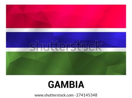 Gambia Flag, geometric polygonal shapes. Vector illustration. - stock vector