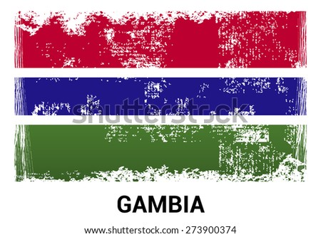 Gambia grunge flag isolated vector in official colors and Proportion Correctly. country's name label in bottom