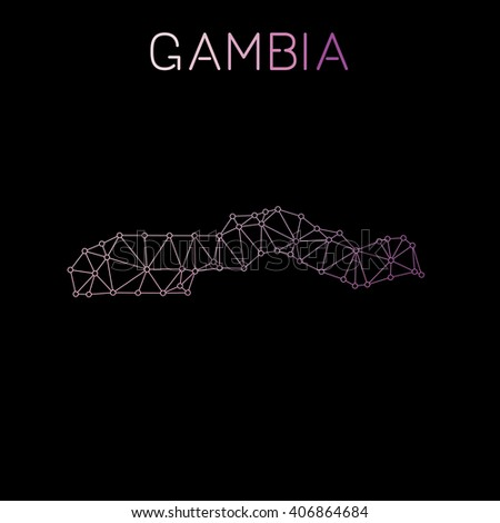 Gambia network map. Abstract polygonal Gambia network map design. Map of Gambia network connections. Vector illustration. - stock vector