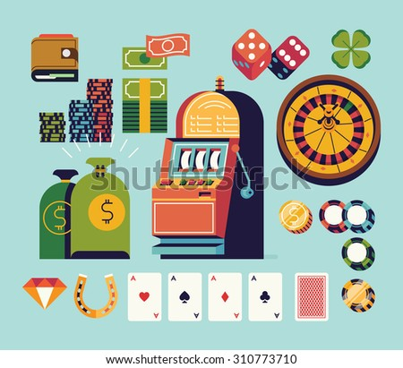 Gambling and casino equipment and items vector flat design illustrations. Featuring one armed bandit, wallet, money bags, roulette wheel, lucky horseshoe, dice and more - stock vector
