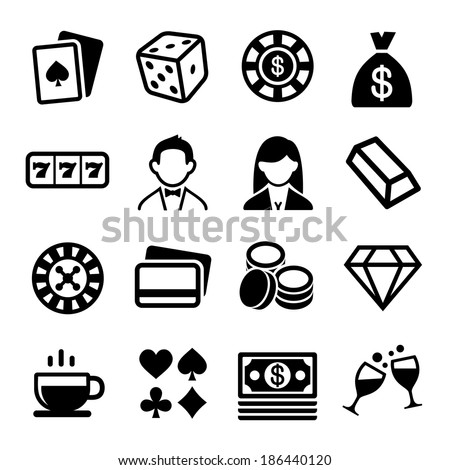 Gambling and Casino Icons Set. Vector - stock vector