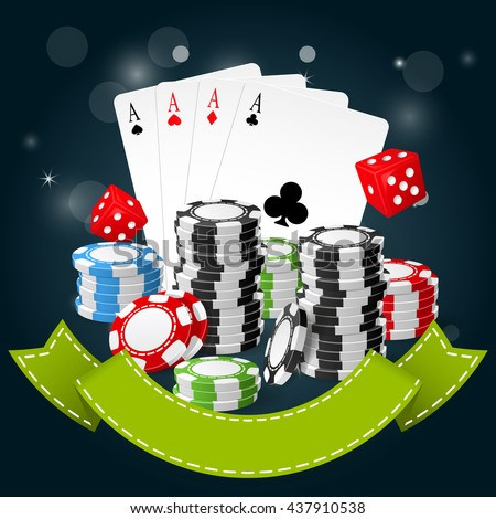 Gambling and casino poster - poker chips, playing cards and dice - stock vector