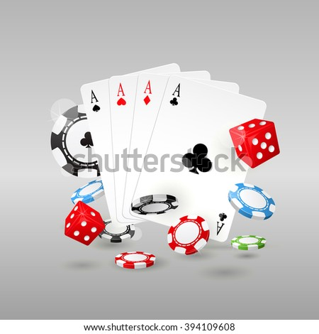 Gambling and casino symbols - poker chips, playing cards and dice