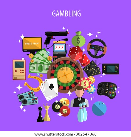 Gambling and games concept with roulette cards and bowling on violet background flat vector illustration  - stock vector
