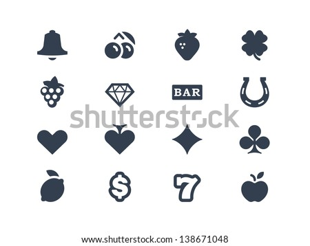 Gambling and slot machine icons - stock vector