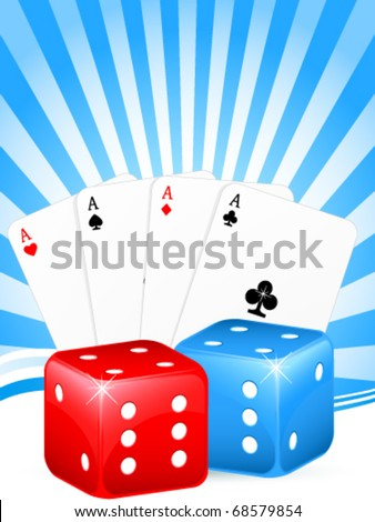 gambling background with cards and dice