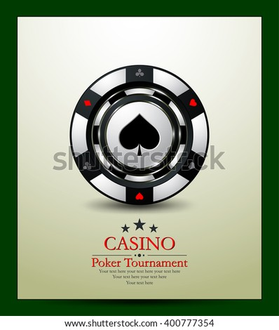 Gambling chip spade. Casino background.Vip.Vintage style and Poker Tournament label. - stock vector