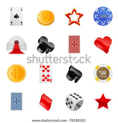 gambling icon set - stock vector