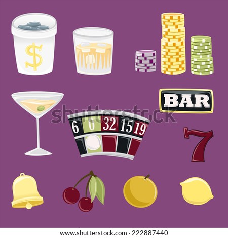 Gambling icon set for casino or entertainment projects - stock vector