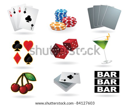 Gambling icons A collection of gambling and casino icons. EPS 8 vector, cleanly built with no open shapes or strokes. Grouped for easy editing. - stock vector