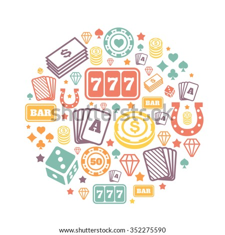 Gambling icons set, casino and card,  poker game. Vector   backround - stock vector