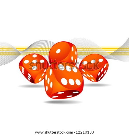gambling illustration with four red dice - stock vector