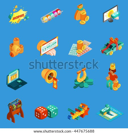 Gambling isometric icons set with jackpot and lottery symbols on blue background isolated vector illustration  - stock vector