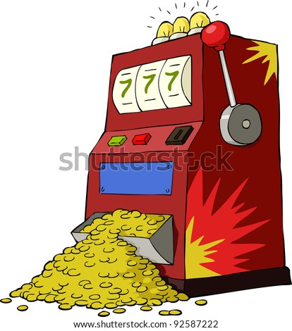 Gambling machine on a white background, vector - stock vector