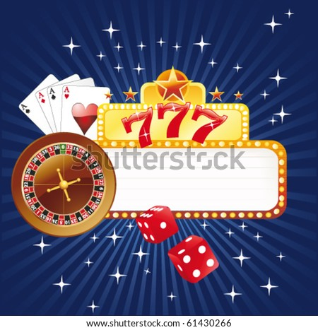 Gambling poster on blue - stock vector