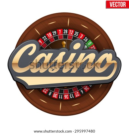 Gambling roulette wheel with Casino tag. Vector illustration isolated on white background. - stock vector