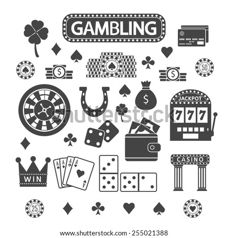 Gambling silhouette icons set. Casino concept collection. - stock vector