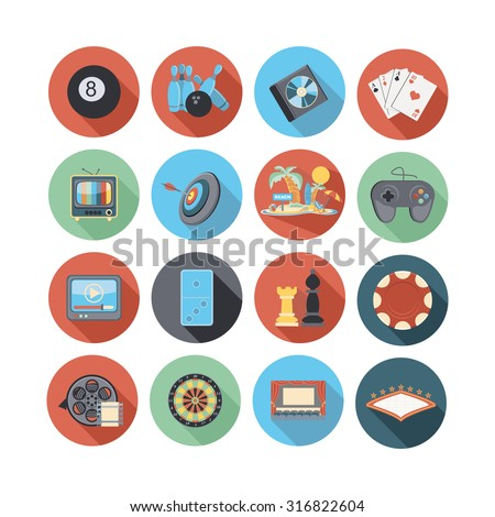 game and entertainment  icon set - stock vector