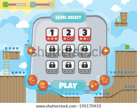 game assets tile platform menu template - stock vector