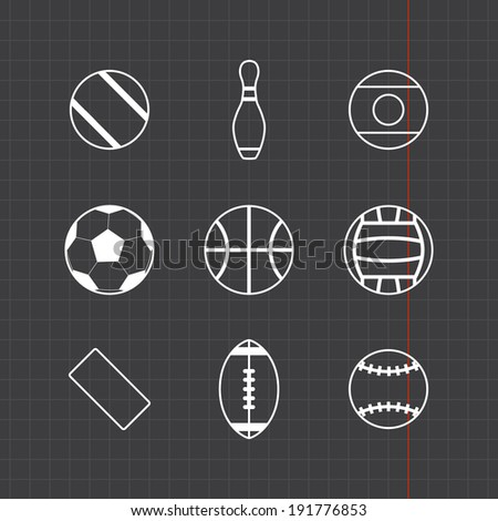 Game balls icons set with black sheet