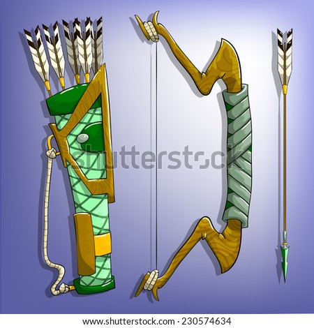 Game bow, arrow and quiver. Vector illustrations. - stock vector
