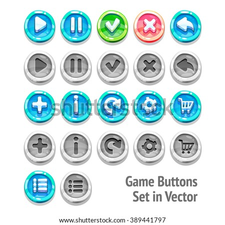 Game buttons set in vector isolated on white background