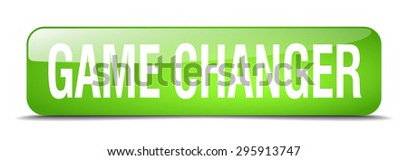 game changer green square 3d realistic isolated web button