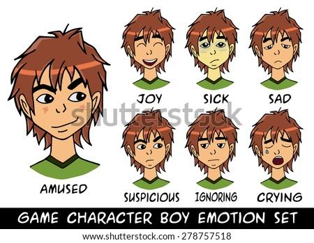 game character boy emotions set vector illustration. Made with love - stock vector