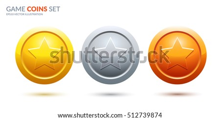 Game coins set. Rank medals for game user interface. Award vector illustration.