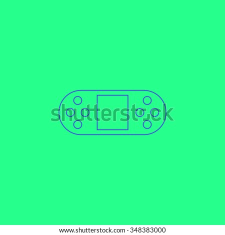 Game Console Simple outline vector icon on green background