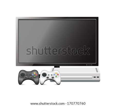 Game Console With TV - stock vector