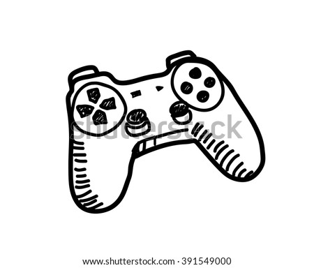 Game Controller Doodle, a hand drawn vector doodle illustration of a video game controller. - stock vector