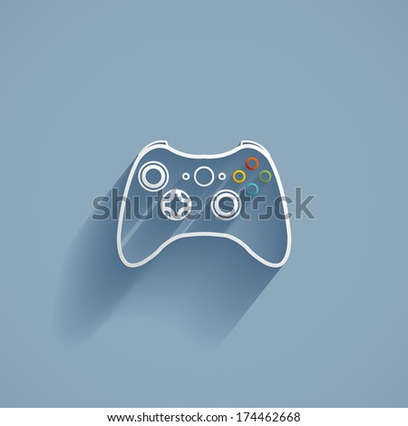 Game controller, flat icon isolated on a blue background for your design, vector illustration - stock vector