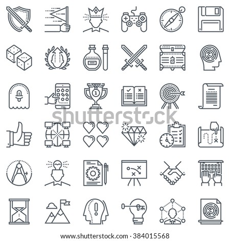 Game design icon set suitable for info graphics, websites and print media and  interfaces. Line vector icon set. - stock vector