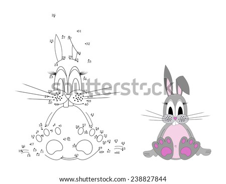 Game for children : join the dots following the numbers, cute rabbit sitting. Gray and pink color design. vector art image illustration, isolated on white background - stock vector