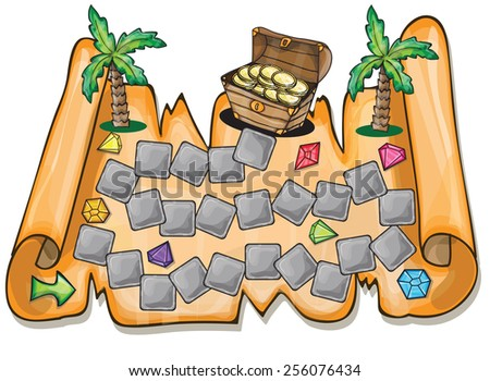 Game for kids - Pirate treasure chest Vector illustration - stock vector