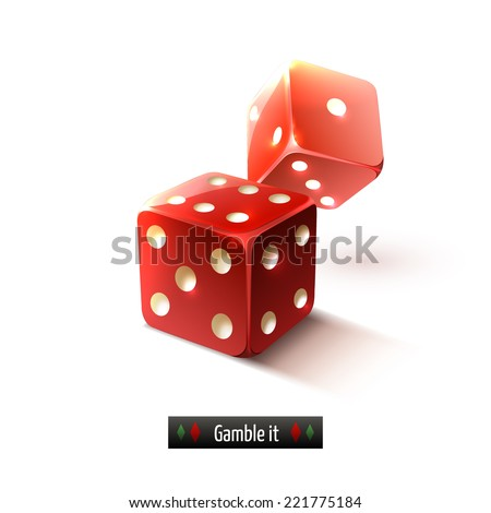 Game gamble casino dice set realistic isolated on white background vector illustration - stock vector