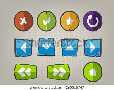 Game GUI buttons, Vector set for games, Control buttons