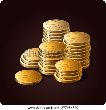 Game icon of gold coins. Vector design for app user interface