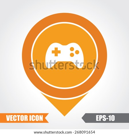 Game Icon On Map Pointer. Eps.-10. - stock vector