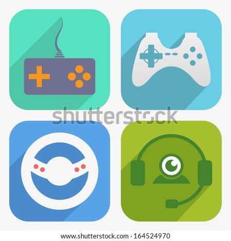 Game icon set - stock vector