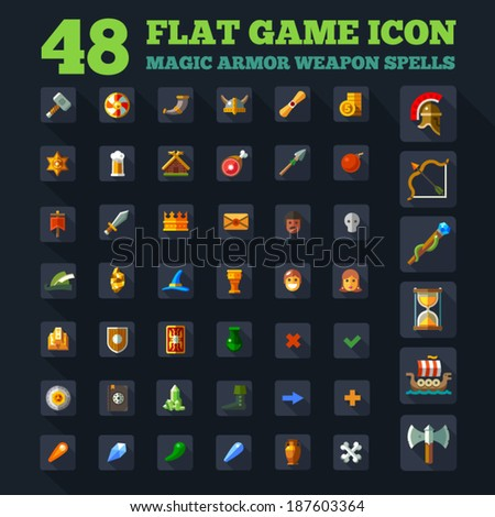Game icon set, vector game flat icon, magic, armor, spells - stock vector