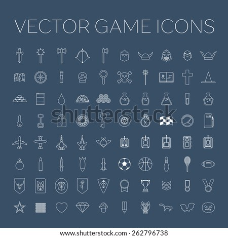 Game icons set. Vector line art design for app game user interface - stock vector