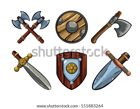 Game icons. Viking's emblem. Cartoon weapons. Medieval weapons sword, ax,shield - stock vector