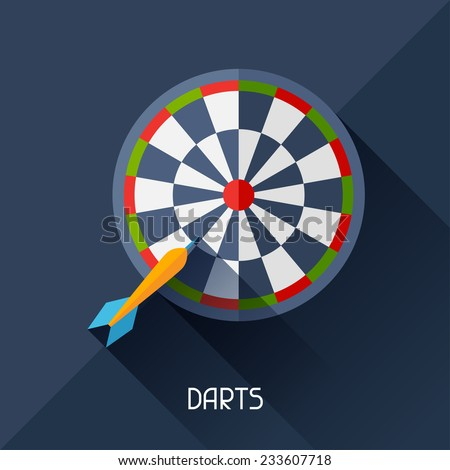 Game illustration with darts in flat design style. - stock vector