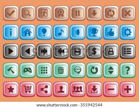 game interface buttons set, app icons with different colour