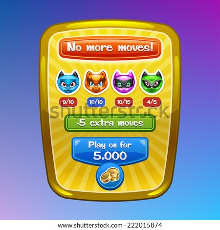 Game interface elements. No more moves screen with cartoon characters and buttons. Vector eps 10. - stock vector