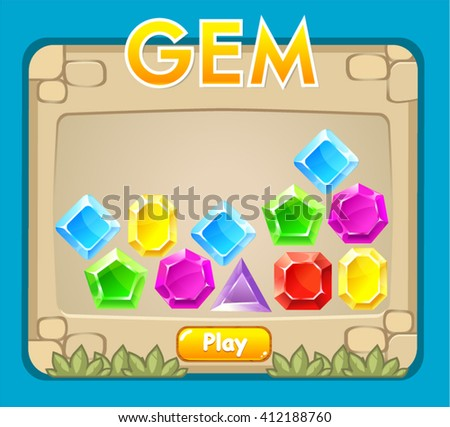 Game interface screen, including board, gemstones elements, landscape background. - stock vector