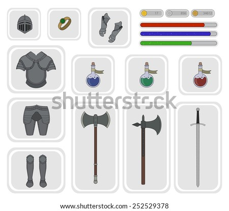 Game inventory. Knight warrior armor set. Helmet, ring, health, mana, power bars, breastplate, gloves, leggings, boots, magic potions, two hand axe, ax, big sword. Vector illustrations - stock vector