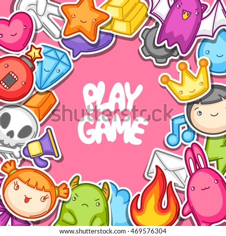 Game kawaii background. Cute gaming design elements, objects and symbols.